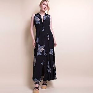 Vintage 90s rose garden minimalist maxi dress